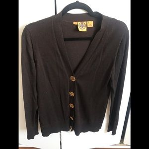 Tory Burch Sweater Medium Brown Cardigan wool